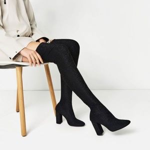 Zara Over the Knee Shimmer Spandex boots